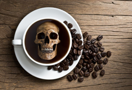 skull soak in coffee